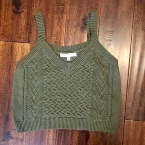 Honey Punch olive green crop sweater tank Small